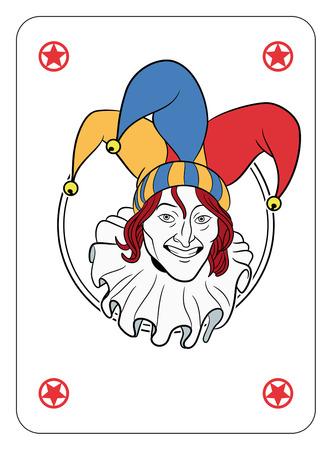 jugando: Cara Joker en una tarjeta de c�rculo de juego Vectores