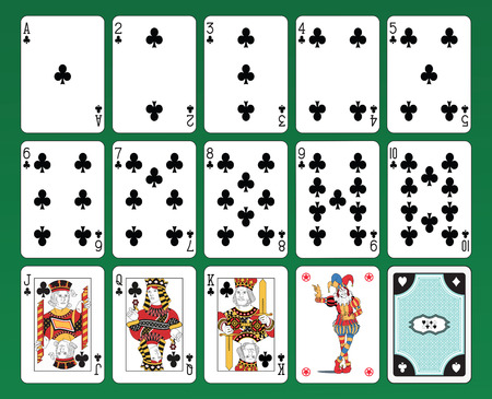 playing card: Set of playing cards on green background. The figures are original design as well as the jolly, the ace of spades and the back card.