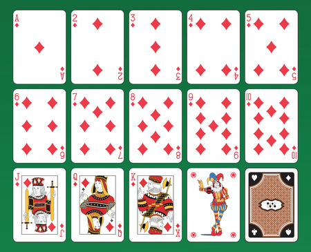 Set of playing cards on green background. The figures are original design as well as the jolly, the ace of spades and the back card.