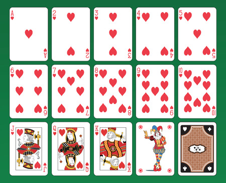 card game: Set of playing cards on green background  The figures are original design as well as the jolly, the ace of spades and the back card   Illustration