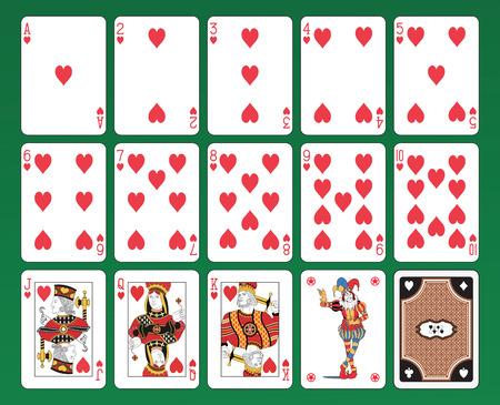 Set von Spielkarten auf grünem Hintergrund Die Figuren sind Original-Design sowie die lustigen, die Pik-As und die Back-Karte Standard-Bild - 26056463
