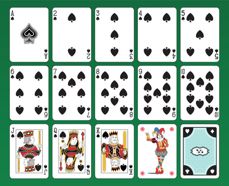Set of playing cards on green background  The figures are original design as well as the jolly, the ace of spades and the back card   矢量图像