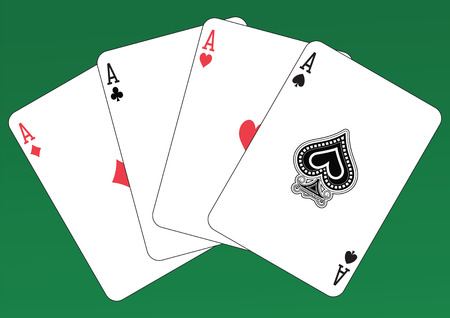 Poker of Aces playing cards on a green background