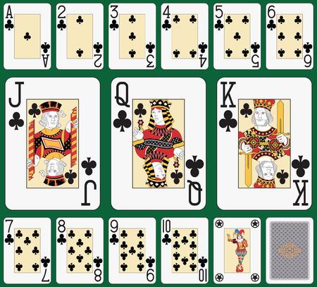 Cartes à jouer, club de même, joker et à l'arrière Banque d'images - 26577741