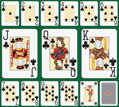 Playing cards, club suit, joker and back