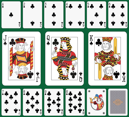 Playing cards, club suit, joker and back Vector