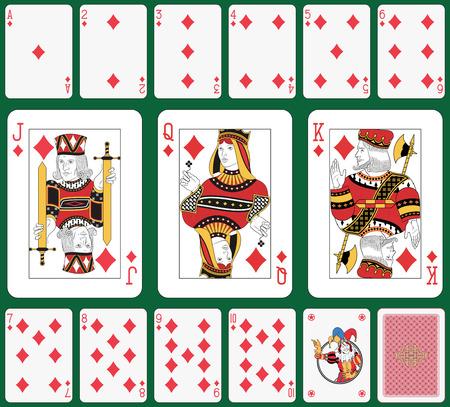 cartas de poker: Jugando a las cartas, traje de diamantes, y de nuevo Joker Vectores