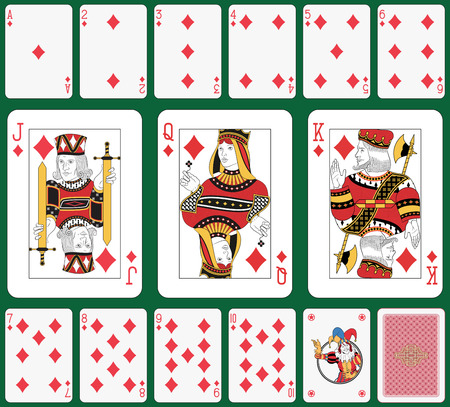 cards poker: Playing cards, diamond suit, joker and back