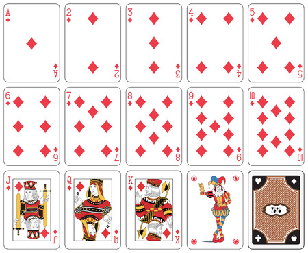Playing cards, diamond suit, joker and back