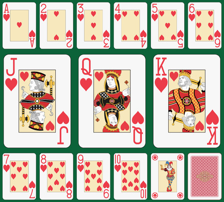 ace hearts: Playing cards, heart suit, joker and back