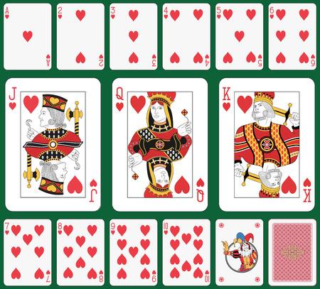 brincolin: Jugando a las cartas, el corazón demanda, y de nuevo Joker. Caras de tamaño doble. Fondo verde en un nivel separado en archivo vectorial