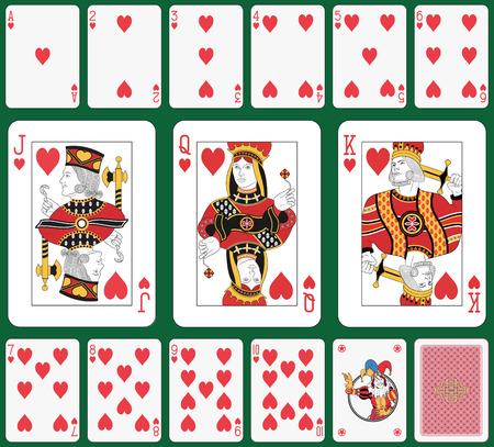 Playing cards, heart suit, joker and back. Faces double sized. Green background in a separate level in vector file