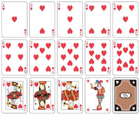 Playing cards, heart suit, joker and back