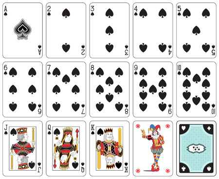 Playing cards, spade suit, joker and back