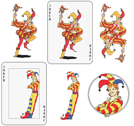 playing card set symbols: Set of jokers playing card. Isolated, framed inside card, symmetric and inside a circle.  Illustration