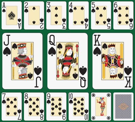Playing cards, spade suit, joker and back. Faces double sized. Green background in a separate level in vector file