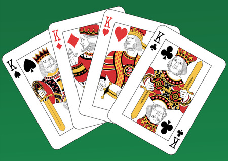 cards deck: Four Kings playing cards on a green background