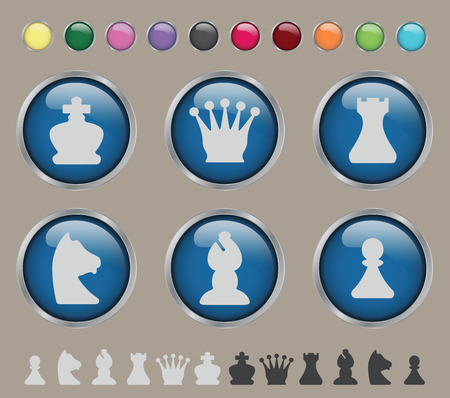 chess rook: Set of stylized glossy chess on a brown background Illustration