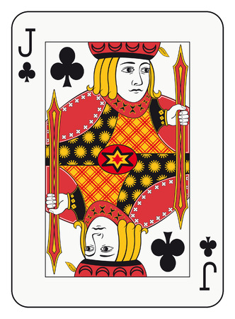 card suits: Jack of clubs playing card Illustration