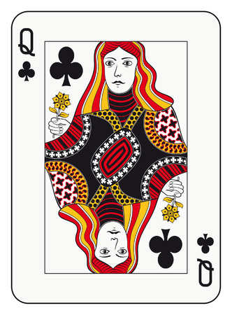 Queen of clubs playing card Ilustrace