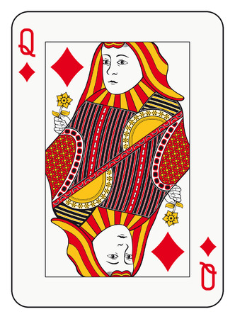 hand holding playing card: Queen of diamonds playing card Illustration