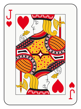 hand holding playing card: Jack of hearts playing card