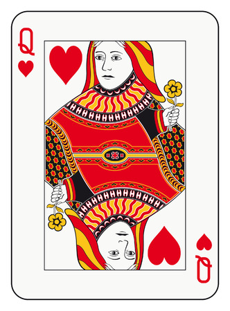 Queen of hearts playing card Stock Illustratie