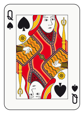 Queen of spades playing card Vector
