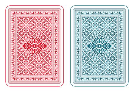 Speelkaarten terug twee kleuren Stock Illustratie