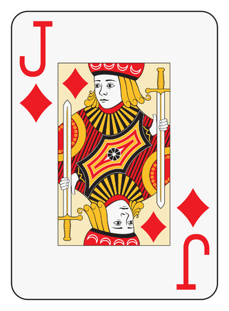 hand holding playing card: Jumbo index jack of diamonds playing card Illustration