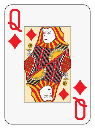 hand holding playing card: Jumbo index queen of diamonds playing card
