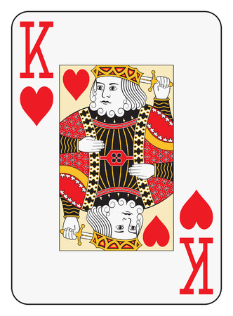 Jumbo index king of hearts playing card Vector