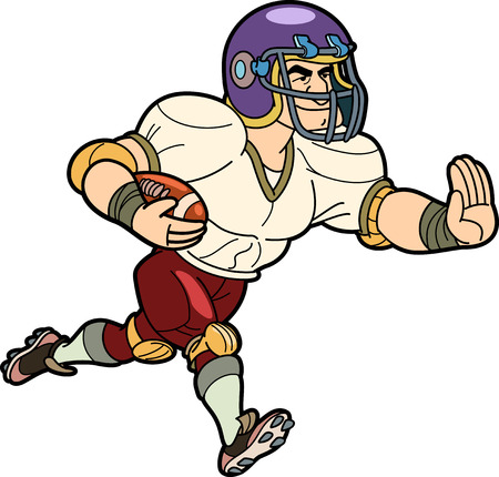 American football player in action of running and sweeping away holding the ball. Action from left to right. Illustration