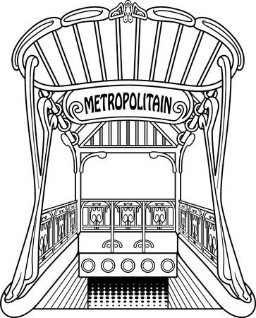 estación del metro: Vieja estaci�n de metro esbozado en blanco y negro. Estilo esencial. Vectores