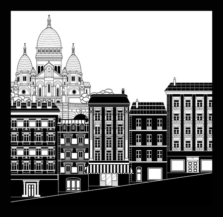 coeur: Black and white cityscape of Montmartre. Sacre Coeur church on top left. Essential and graphic style.