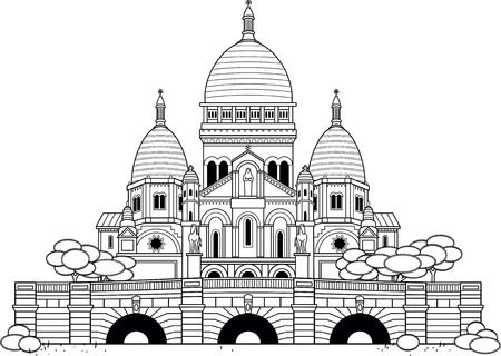 coeur: Outlined Sacre Coeur church. Black and white. Essential and graphic style.