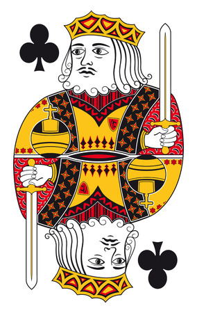 hand holding playing card: King of clubs without playing card background