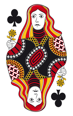 hand holding playing card: Queen of clubs without playing card background