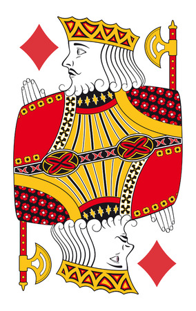 red and yellow card: King of diamonds without playing card background Illustration