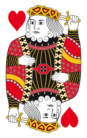 hand holding playing card: King of hearts without playing card background