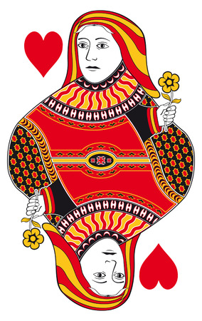 hand holding playing card: Queen of hearts without playing card background