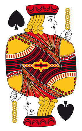 hand holding playing card: Jack of spades without playing card background Illustration