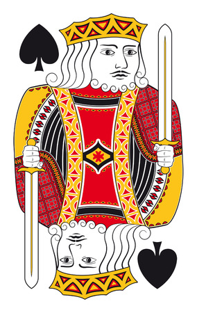 hand holding playing card: King of spades without playing card background