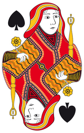 hand holding playing card: Queen of spades without playing card background