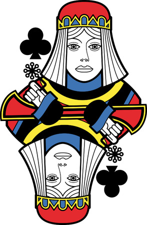 playing cards: Stylized Queen of Clubs no card