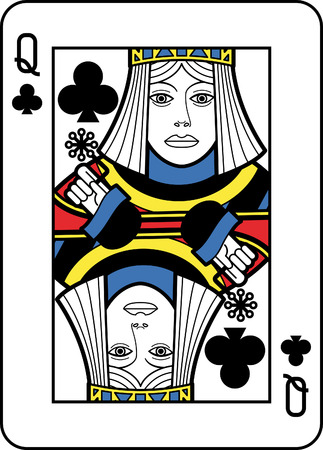 queen of clubs: Stylized Queen of Clubs Illustration