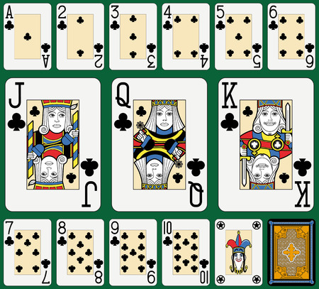suite: Playing cards, clubs suite, joker and back. Faces double sized. Green background.