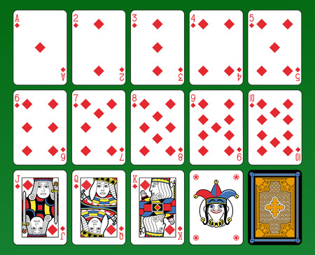 suite: Playing cards, diamonds suite, joker and back. Green background.