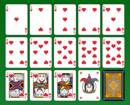 playing: Jugando a las cartas, corazones de ba�o, bromista y de regreso. Fondo verde.