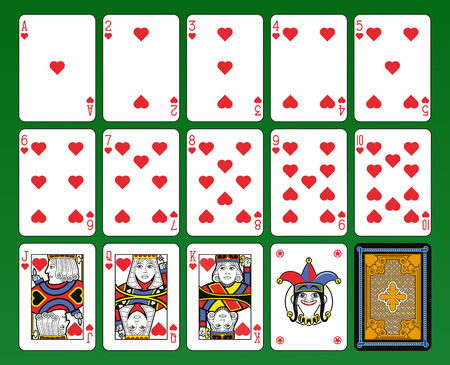 card game: Playing cards, hearts suite, joker and back. Green background. Illustration